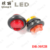3/4 inch mini round led side marker lights with rubber grommets