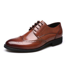 Mens formal shoes genuine leather height increasing Rubber sole shoes
