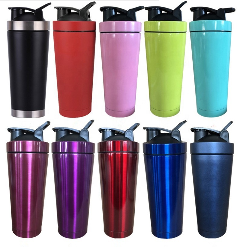 750ml Customized protein powder GYM storage stainless steel double wall shaker bottle фото