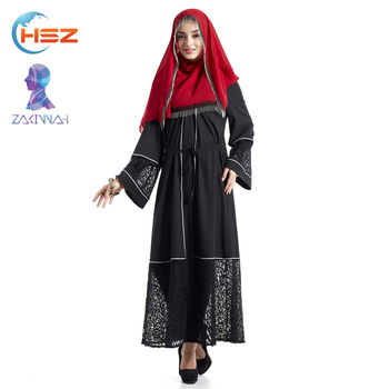 Zakiyyah E008 fashion korean ladies dress hemline in lace hollow-carved muslim women clothing 2017 affordable abaya
