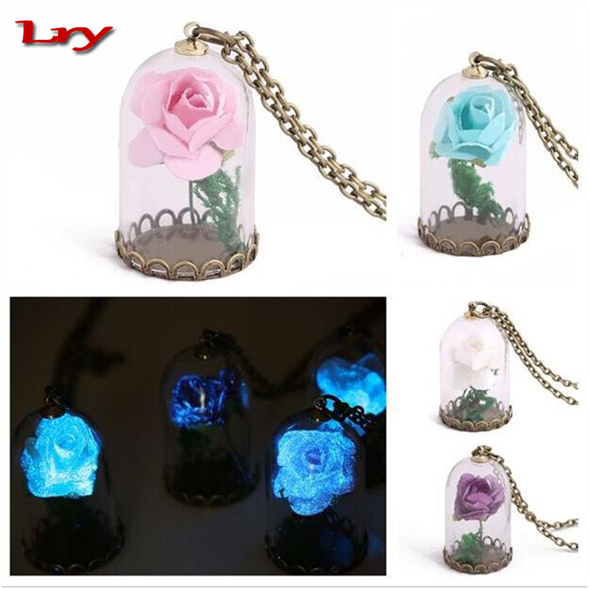 Movie the Beauty And The Beast same model Little Prince necklace luminous Real rose and forest moss Forest jewelry