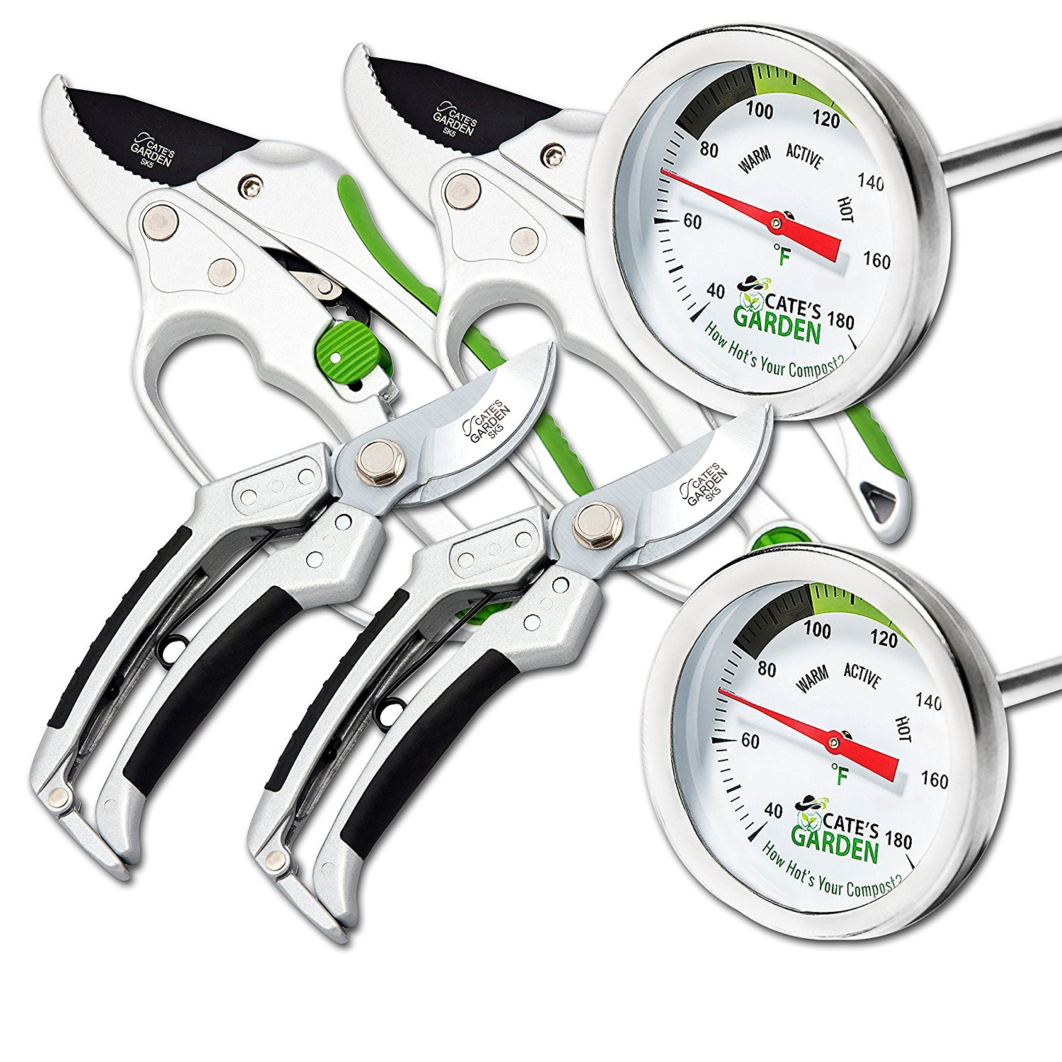 "Cate's Garden 6-Piece Garden Tool Set- 2 Compost Thermometer Premium Stainless Steel, 2 Bypass & 2 Ratchet Pruning Shears 8"" Easy Action Anvil-type Hand Pruner - Heavy Duty SK5 High Carbon Blades"