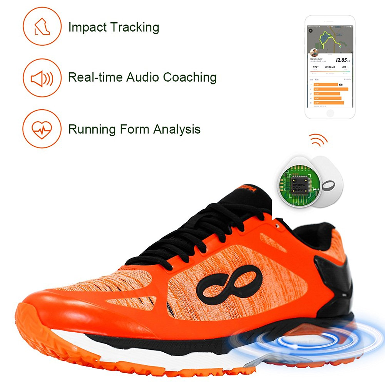 Runtopia Reach 2.0 Men's Smart Running Shoes Equipped with Data Tracking Chip