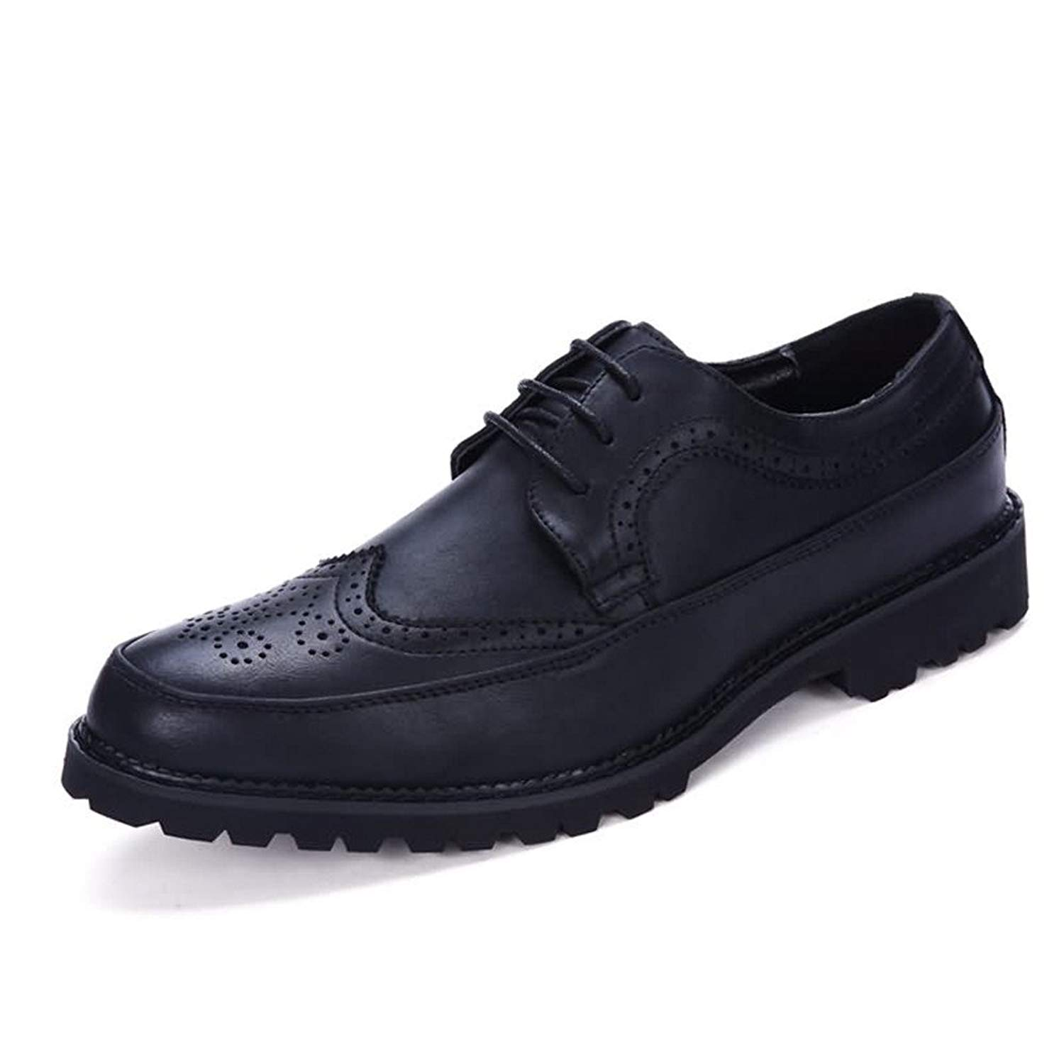 Muyin Men's Oxford Flat Heel Lace up PU Leather Leisure Tooling Shoes