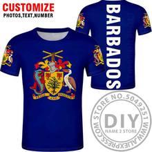 BARBADOS футболка Бесплатная пользовательская печать имя номер черный фото серый гибкий brb страна diy Футболка колледжа bb флаг национальная одеж...(Китай)