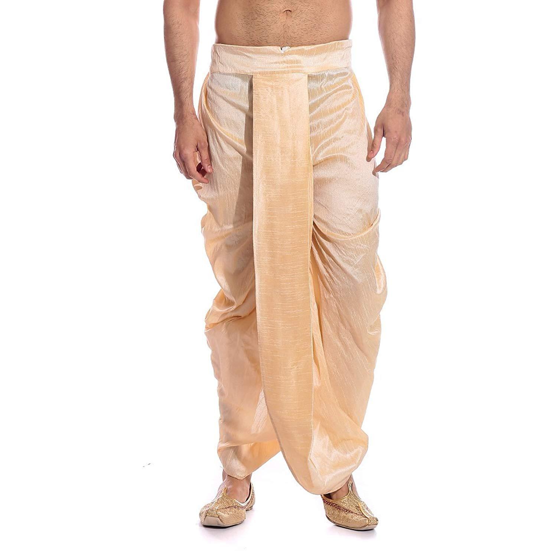 31e03c4f890a8 Get Quotations · Royal Kurta Men's Gold Silk Blend Free Size Dhoti Pants