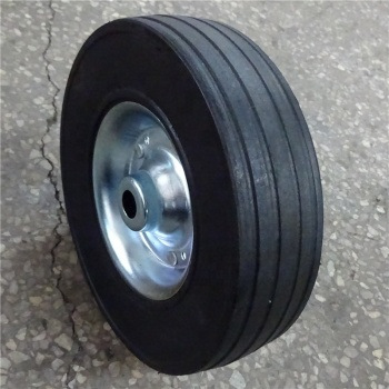 high quality durable  solid 9 inch rubber wheel for hand trolley