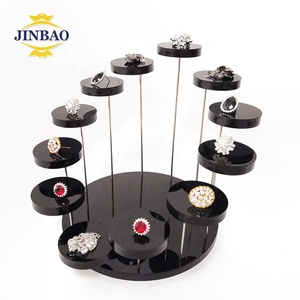 JINBAO Wholesale Transparent Plexiglass Necklace Bracelet Ring Round Clear Acrylic Jewelry Table Holder Display Stand Rack