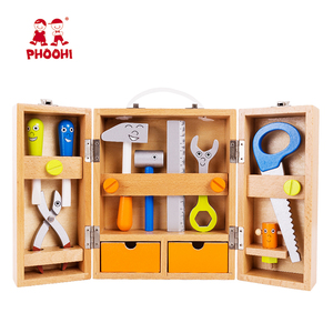 Foldable portable pretend children simulation toolbox wooden kids tool set toy