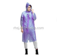 Disposable LDPE waterproof plastic raincoat emergency used disposable rain coat with hood
