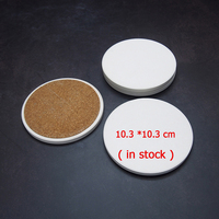 Promotional Round Blank Ceramic Coasters White Water Absorbent Tile Coaster 10.3 cm