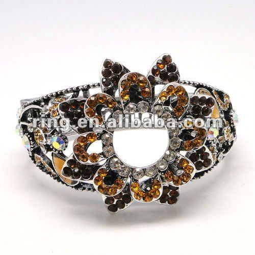 Inspired Vintage Estate Yellow Diamond Crystal Cuff Bracelet