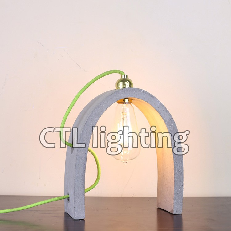 Hotel decorative mini cement lamps table lamp zhongshan factory handmade bridge shaped bedroom modern concrete desk lamp