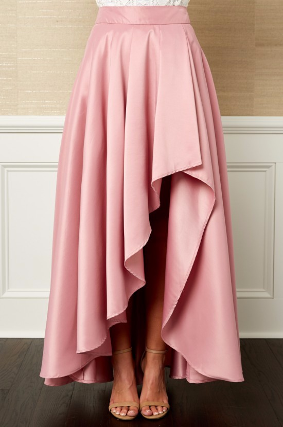 6923826fbe Soft Satin Used Short Front Long Back Pink Women Open Front Skirt ...