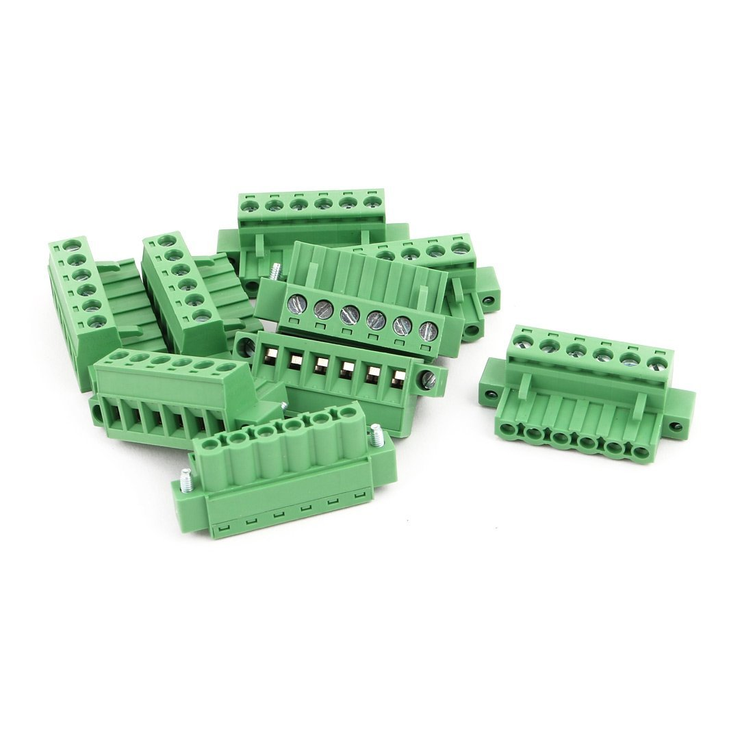 uxcell 10Pcs LC1M AC300V 15A 5.08mm Pitch 6P PCB Mount Terminal Block Wire Connector