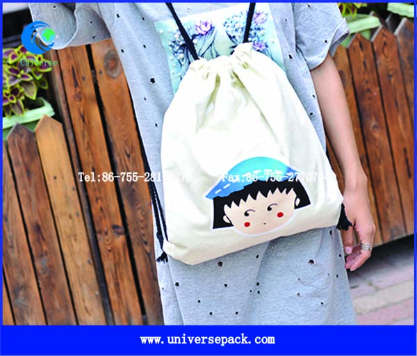 Cartoon Printing Bag Canvas Backpack With Drawstring Wholesale Made In China Bags