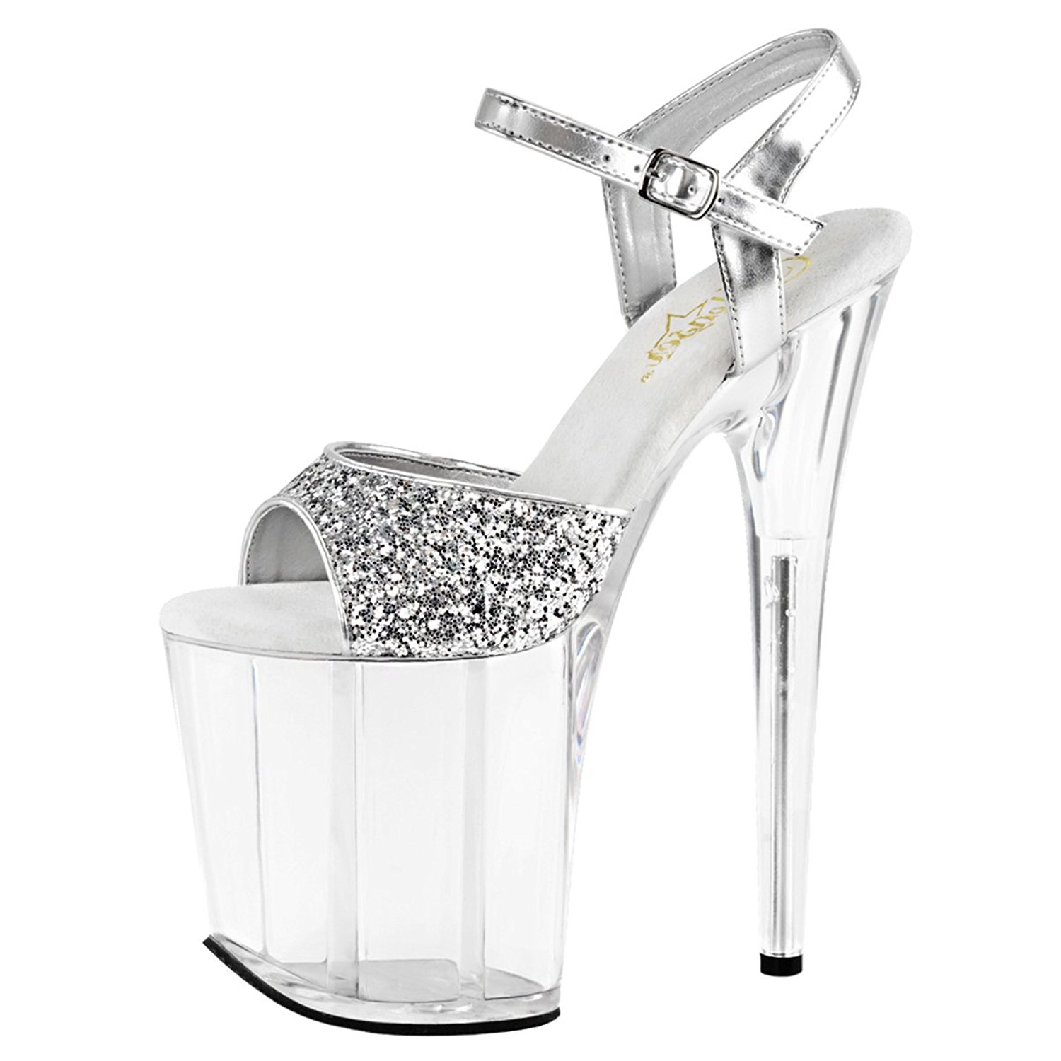 fd32a6d83b3 Get Quotations · Summitfashions Womens Platform High Heels Silver Glitter  Sandals Clear Shoes 8 Inch Heels