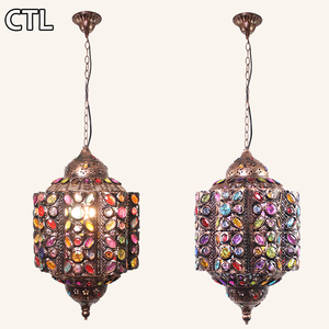Moroccan Vintage Crystal Chandelier Southeast Asian e27 iron pendant lights