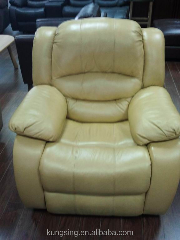 Yellow Leather Recliner Single Sofa - Buy Recliner Single ...