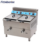 Catering industrial machine 2 tank 2 basket deep lpg gas flat fryer with temperature control, commercial fryer gas