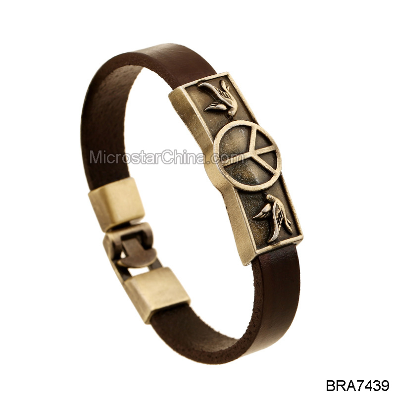 New Listing Fashion Popular Alloy Pigeon Symbol Peace Tag Unisex Leather Bracelet