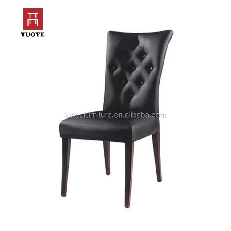 Acento alto marco volver metal tuffeted cuero negro comedor sillas ...