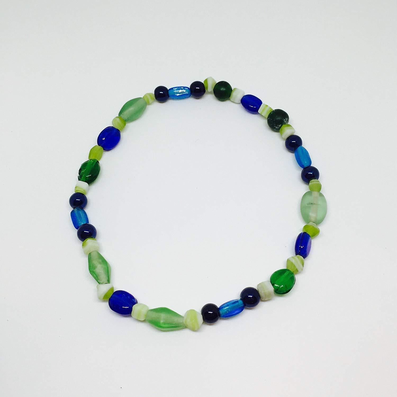 Bead Anklet//Bead Bracelet//Blue, Teal, Green, Cream, & Aqua Glass Bead//Bracelet//Anklet//Water Color Bracelet//Water Color Anklet