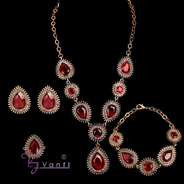 2016 Antique Wedding Diamond Ruby Gold Plated Victorian Jewelry set1