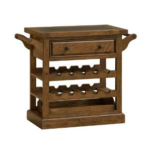 "Hillsdale Furniture 5225-892W Tuscan Retreat 31"" Wide Drink Trolley Cart with 1 Drawer Granite Top Casters and Wine Bottle Storage in Antique Pine"