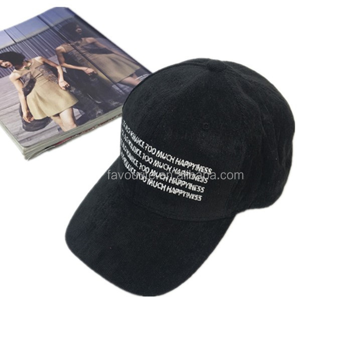 wholesale custom black corduroy 5 panel cap, baseball cap with character embrodery