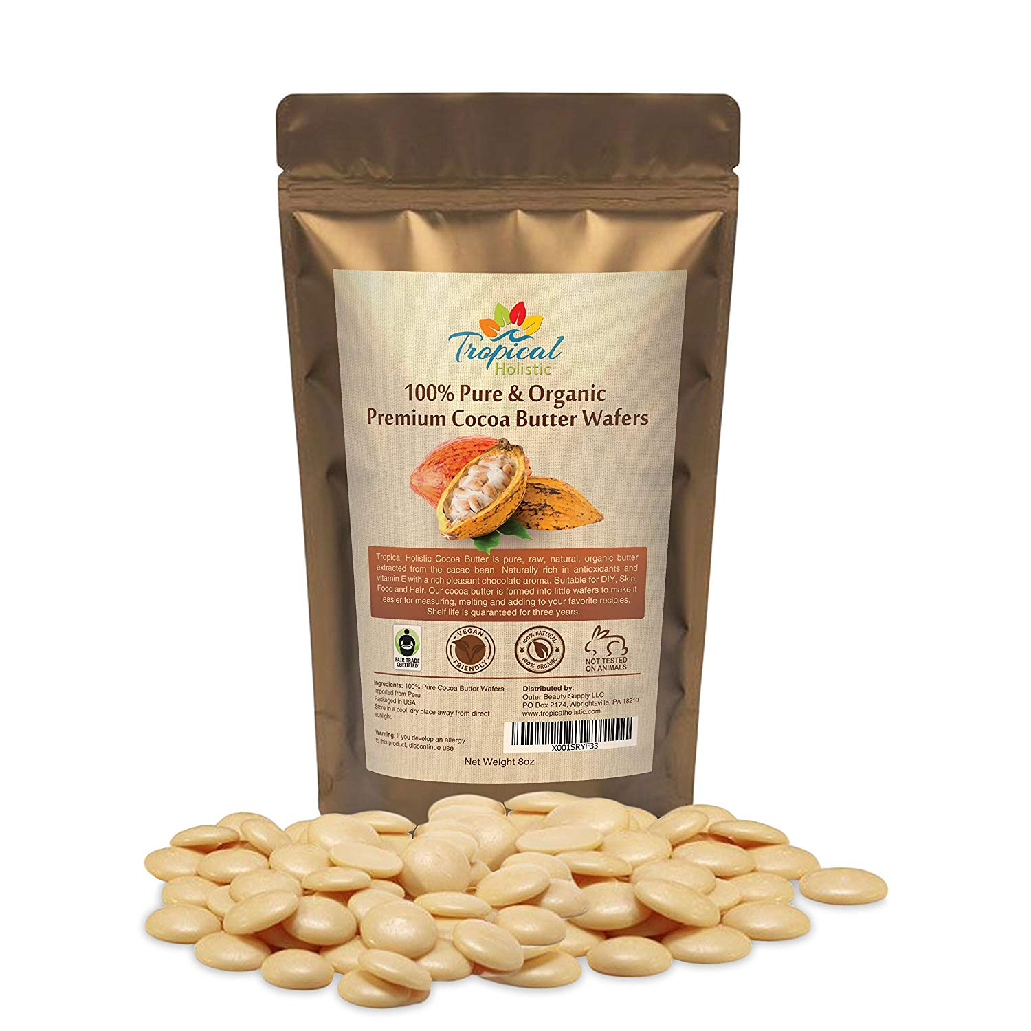 Raw Cocoa Butter Wafers (8 ounce) - 100% Natural Unrefined, Non-Deodorized, Organic Fair Trade Cacao Beans From Peru - Best for Food, Hair, Skin and DIY Such as chocolate bars