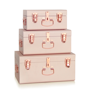 Set 3 Colorful Metal Storage Trunk Locked Trunk Boxes With Rose Gold Accessories