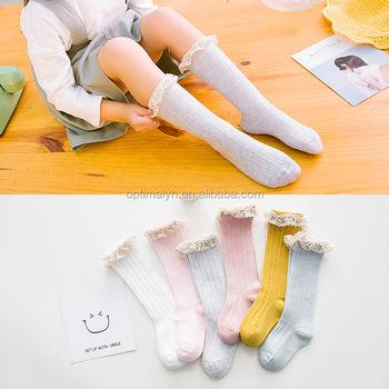 b9acfa4040c Back to school girl knee high socks fashion lace ruffle princess knee length  girls socks