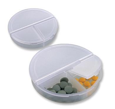 Supply round shape logo printedplastic one day pill storage box in 3 case for medical promotion