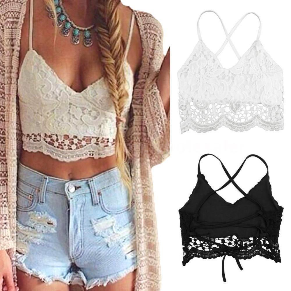 eedae114cc8f13 Sexy Women s Lace Crochet Crop Tops Strappy Bra Bralet Eyelash Vest  Black White
