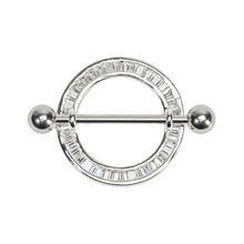 316L Stainless Steel Round Nipple Ring Barbell Shield with Square Crystals