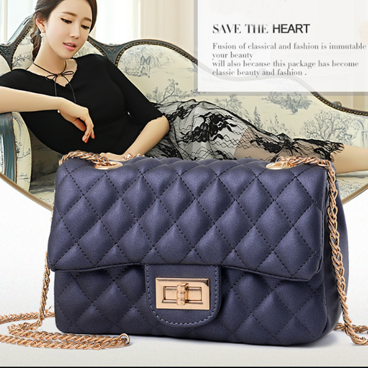 Women Fashion lady Shoulder Bag Jelly Clutch Handbag Quilted Crossbody women Bag with Chain