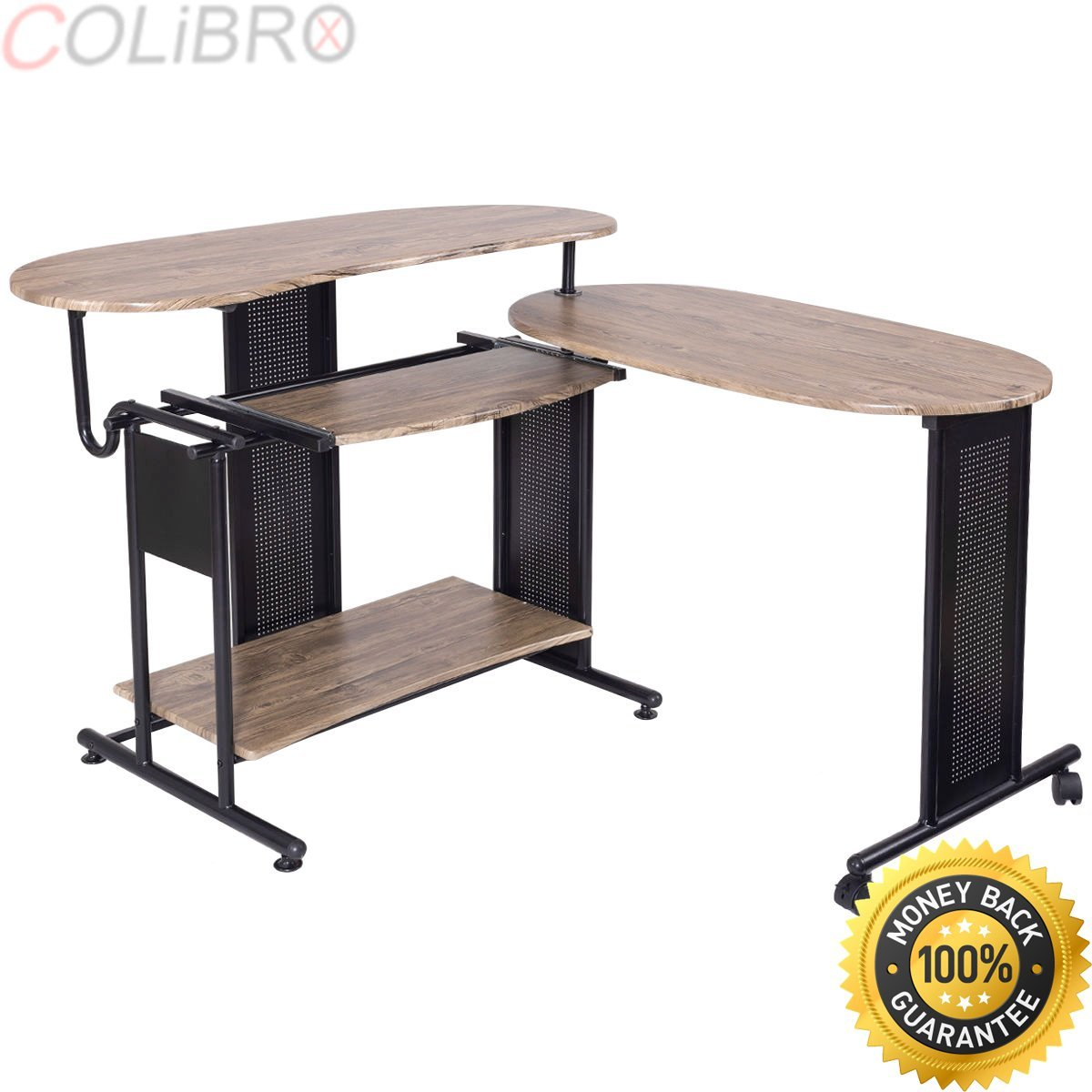 COLIBROX--Expandable Computer Desk L Shaped PC Laptop Table Corner Workstation Home Office. wood computer desk pc laptop table workstation study home office. best amazon computer table for sale.