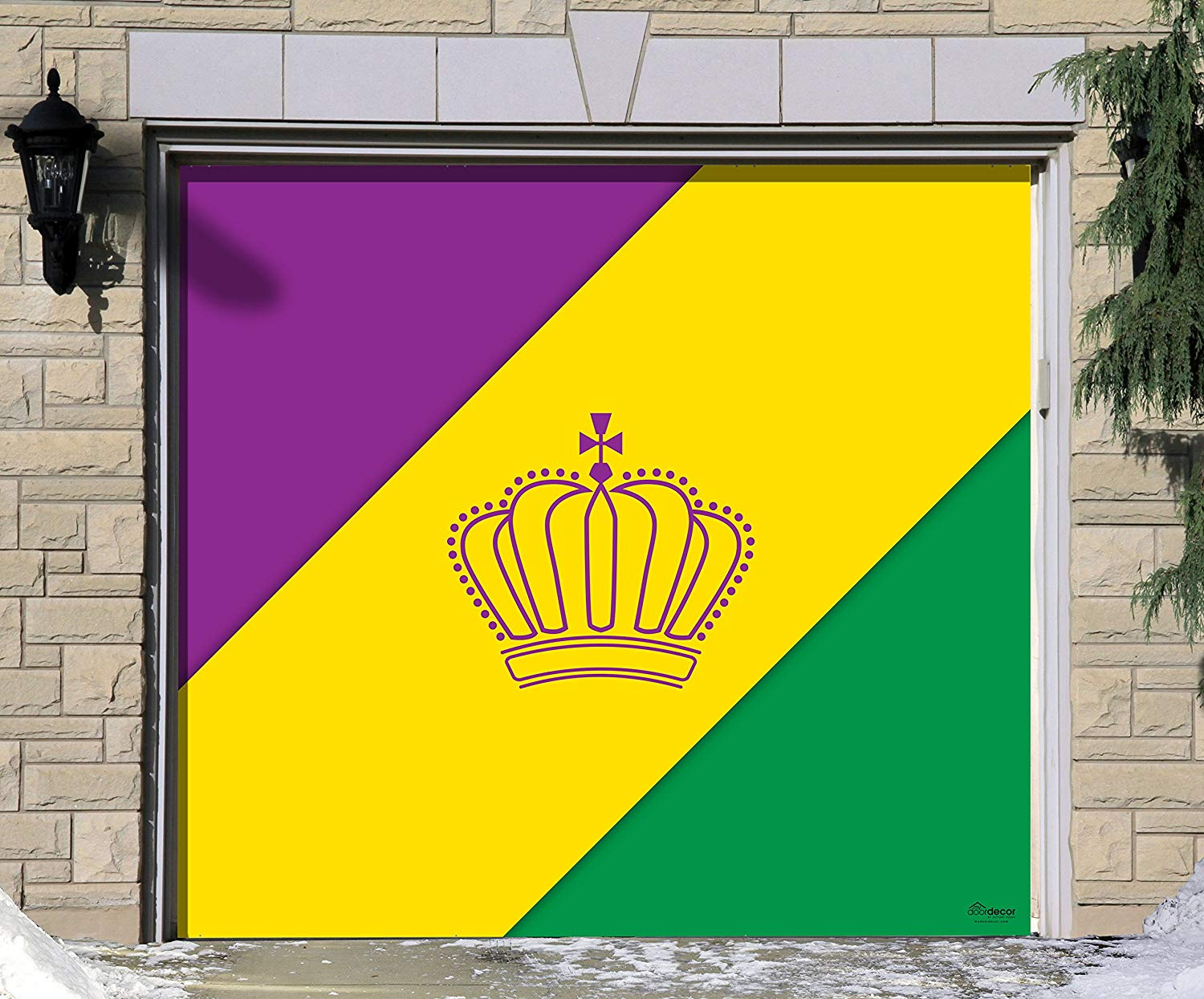 Victory Corps Outdoor Mardi Gras Decorations Garage Door Banner Cover Mural Décoration 7'x8' - Mardi Gras Diagonal Stripes - The Original Mardi Gras Supplies Holiday Garage Door Banner Decor