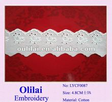 2012 New design white 100%cotton embroidery lace