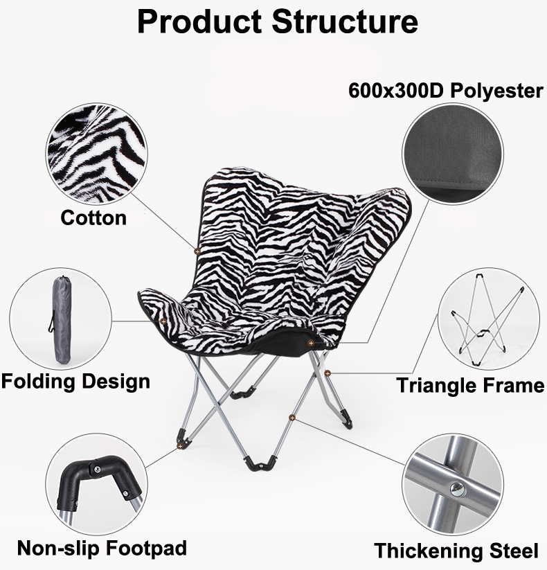 Different size folding butterfly chair frame,butterfly shape chair