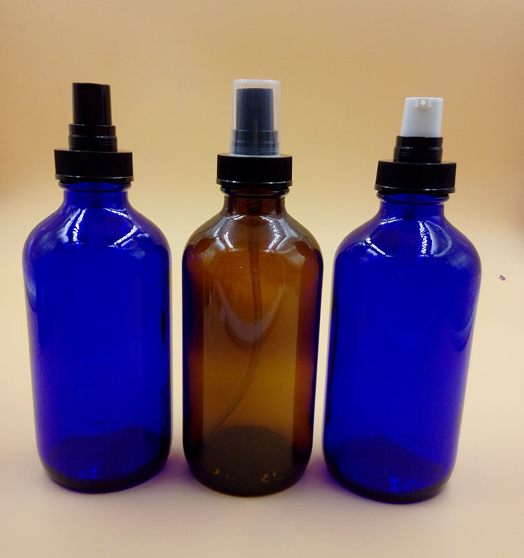 8oz cobalt blue glass trigger sprayer bottles for essential oils, aromatherapy 8oz amber boston round spray atomiser cap
