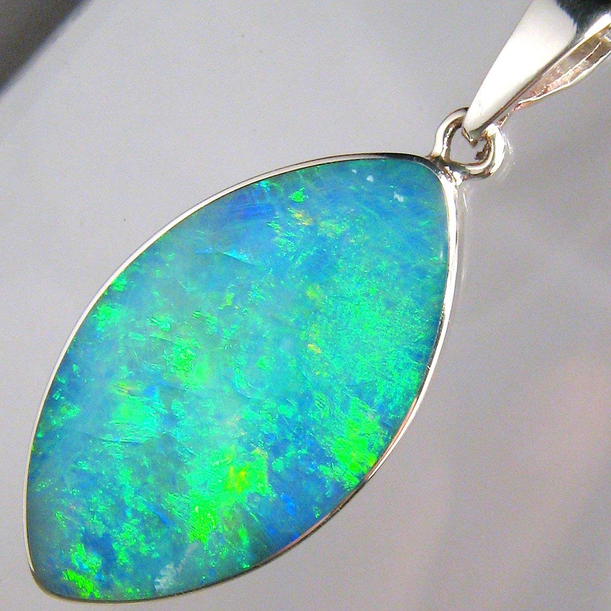 8.6ct Solid Silver Australian Natural Inlay Green Opal Pendant Gift Necklace 886