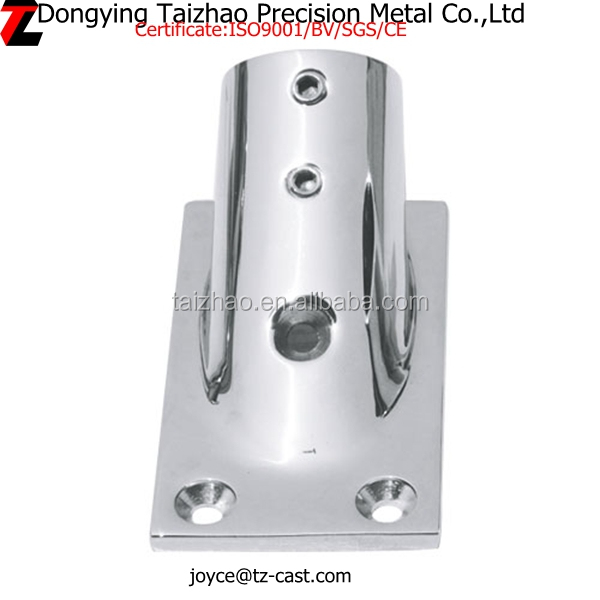 Stainless steel mirror polished rectangular railing base