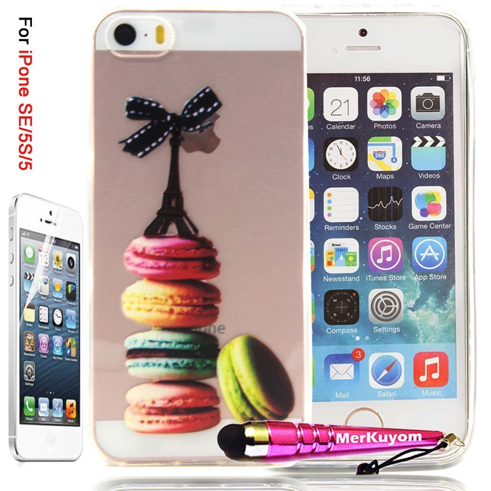 iPhone SE Case / iPhone 5 5S Case, 5/5S/SE Cover, MerKuyom® Package-Thin Flexible Gel Soft TPU Cover Silicone Skin Case + Film & Stylus For Apple iPhone 5 5S, iPhone SE (Biscuit Cookies)