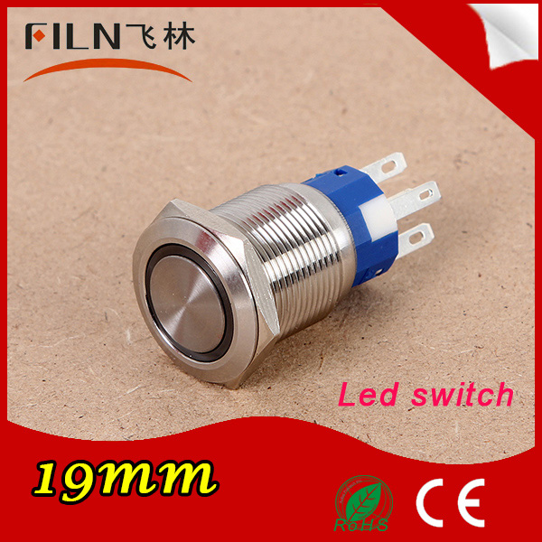 FLM19N-F11Z-E 19mm 6v Green stainless steel led illuminated waterproof on off push button switch