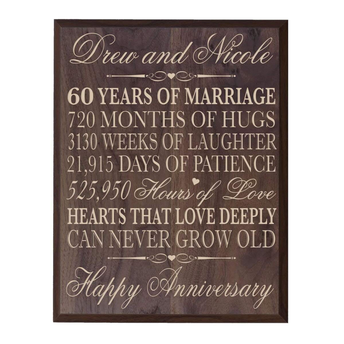 "Personalized 60th Wedding Anniversary Wall Plaque Gifts for Couple, Custom Made 60th Anniversary Gifts 12"" W X 15"" H Wall Plaque By LifeSong Milestones (12"" x 15"" x 1/2"", Grand Walnut)"