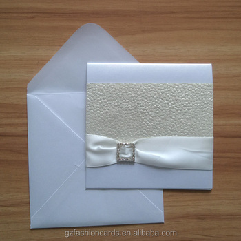 Diy Delicate Embossing Wedding Card With Ribbon And Rhinestone ...