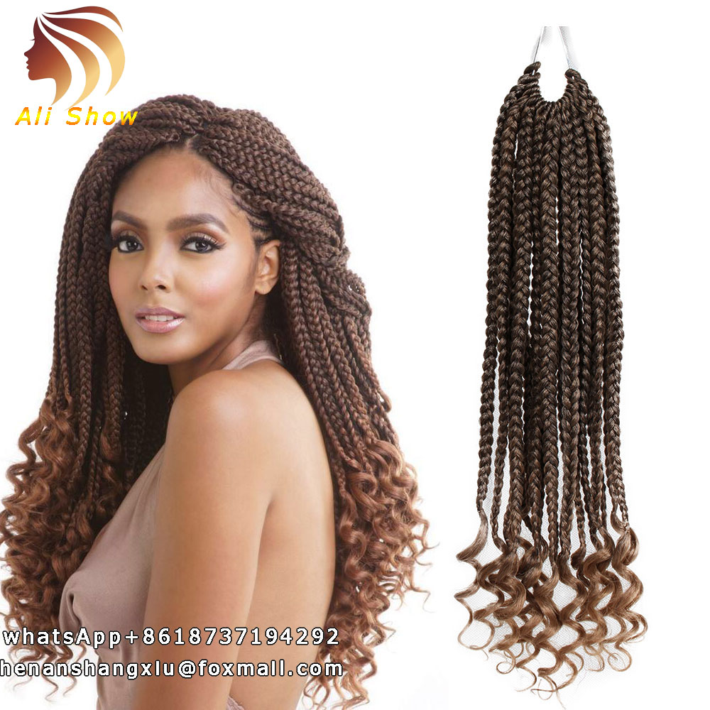 Goddess Box Braids Curly Crochet Hair Extensions 18inch Curly Faux