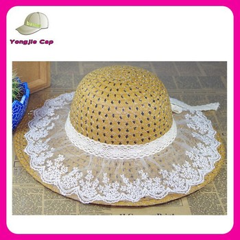 China floppy sunny hat with accessory wide brim pp round top straw hats a21cee7fb86